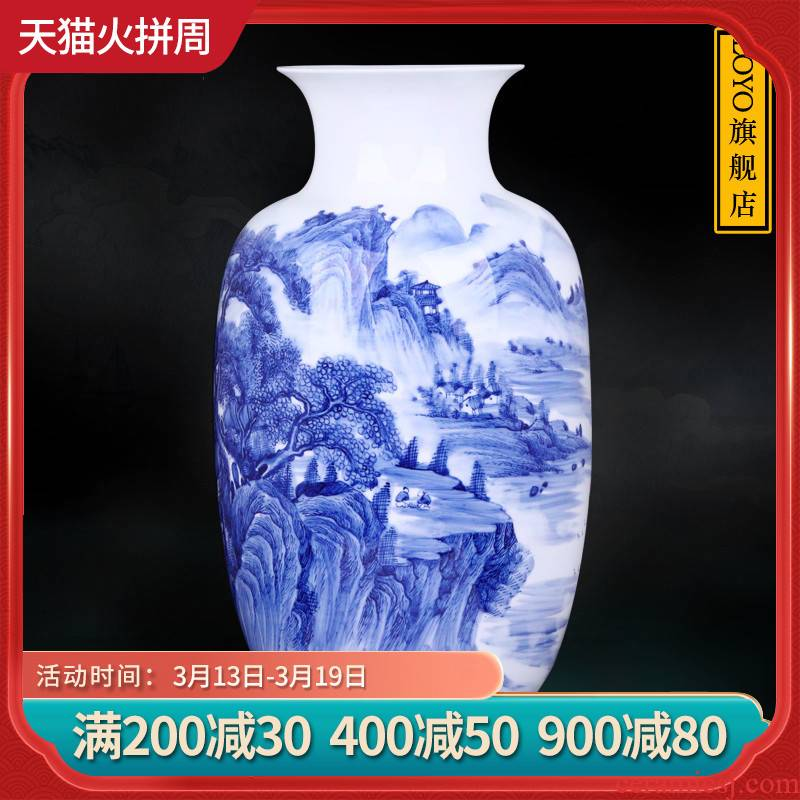Jingdezhen blue and white porcelain vases, pottery and porcelain hand - made scenery figure arranging flowers large Chinese style household act the role ofing is tasted