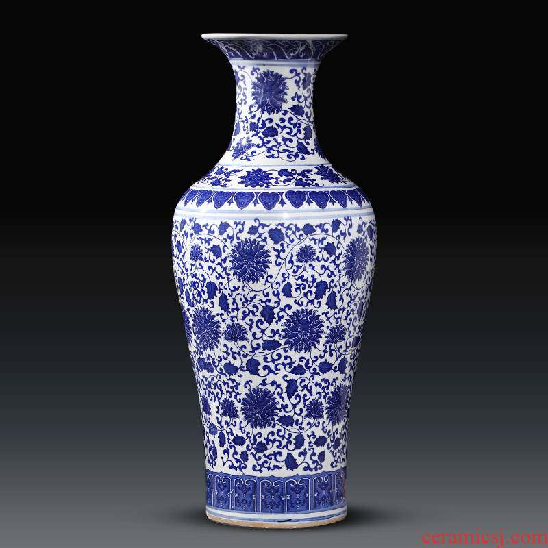 Jingdezhen chinaware bottle of archaize of large blue and white porcelain vase hotel sitting room adornment the company furnishing articles