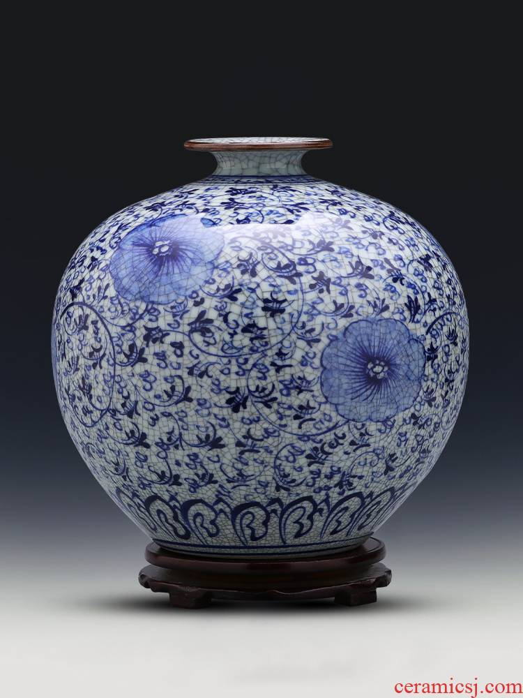 Jingdezhen ceramics hand - made antique blue and white porcelain vase large - sized pomegranate bottle arranging flowers sitting room household act the role ofing is tasted furnishing articles