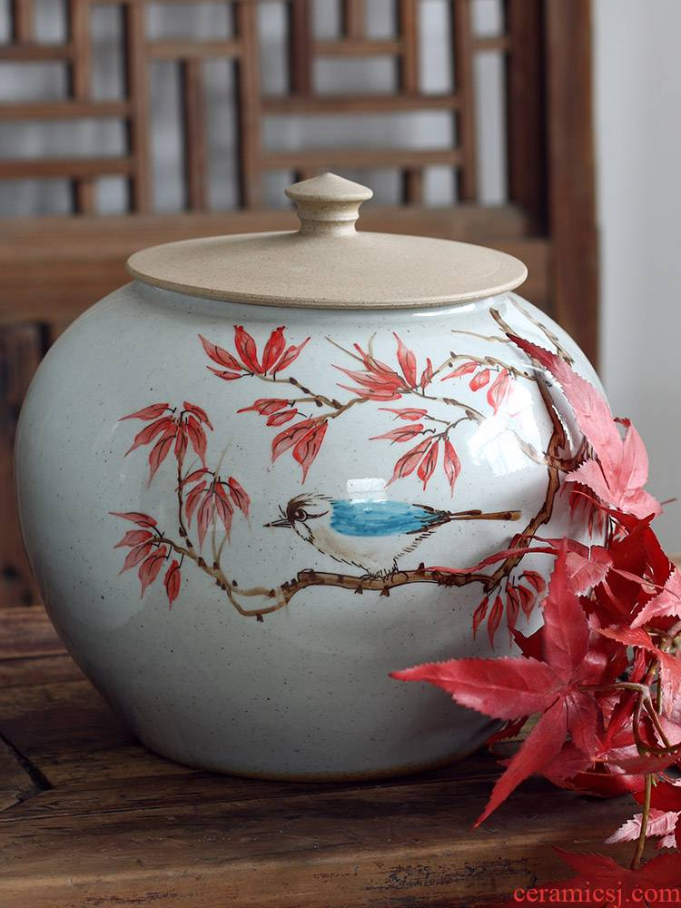 Freehand brushwork in traditional Chinese painting of flowers and lines of jingdezhen ceramic vase furnishing articles of new Chinese style living room decorative POTS clear soup WoGuo arranging flowers