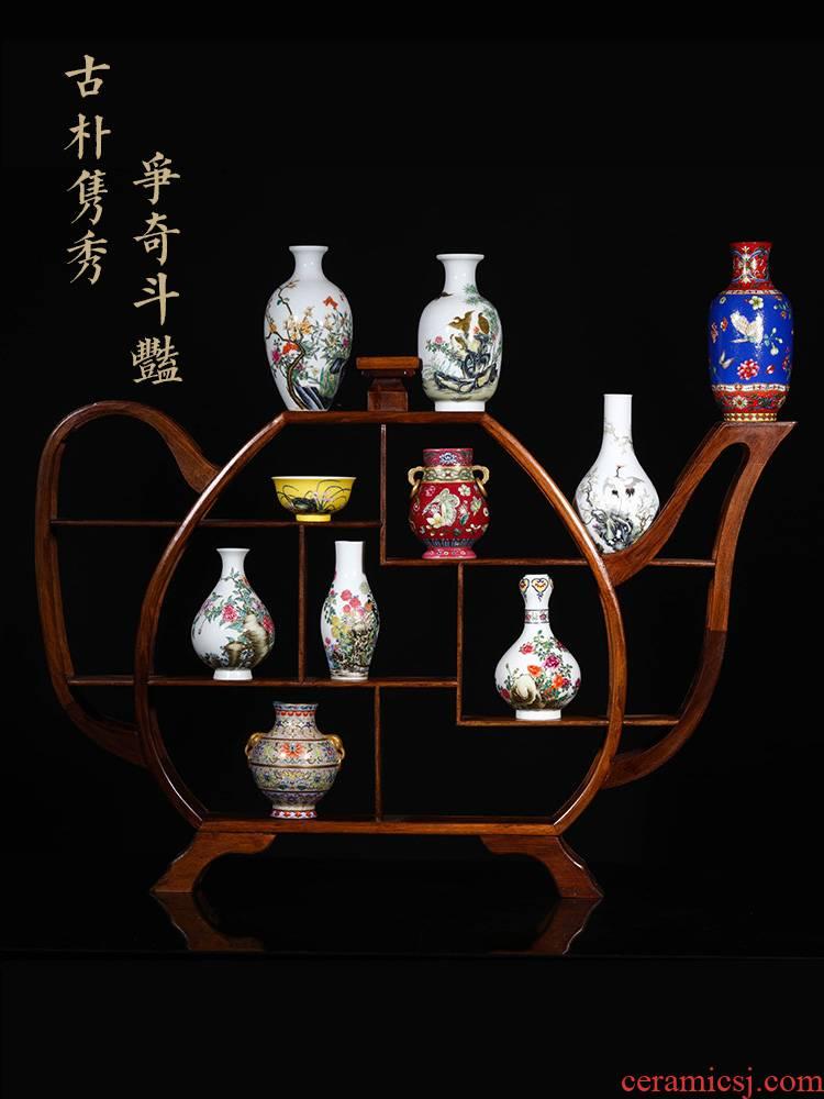 Jia lage jingdezhen Chinese style home furnishing articles YangShiQi up classic colored enamel ten treasure porcelain vase