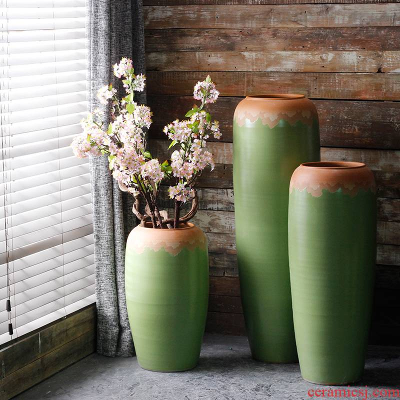 Contracted and I European ceramics of large vases, flower arrangement sitting room adornment is placed American porch garden courtyard