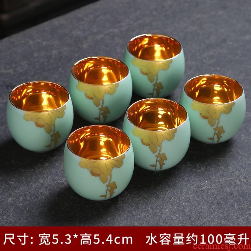 Celadon tea sets single CPU longquan kung fu of a complete set of pure manual lotus GaiWanCha teapot teacup sample tea cup