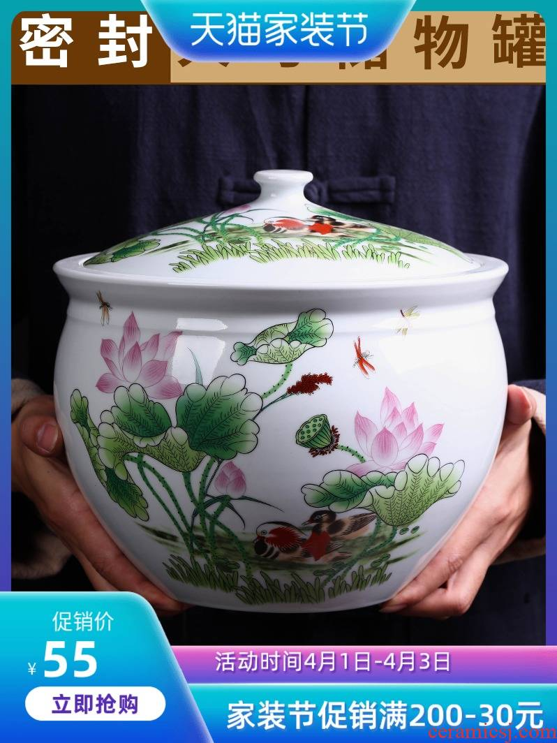 Jingdezhen ceramic barrel ricer box 5 jins of 10 jins home outfit ricer box sealing bin moistureproof insect - resistant rice flour