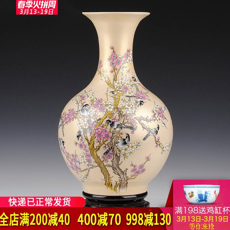Jingdezhen ceramics, vases, flower arrangement in modern Chinese style living room TV ark place gifts home decoration arts and crafts