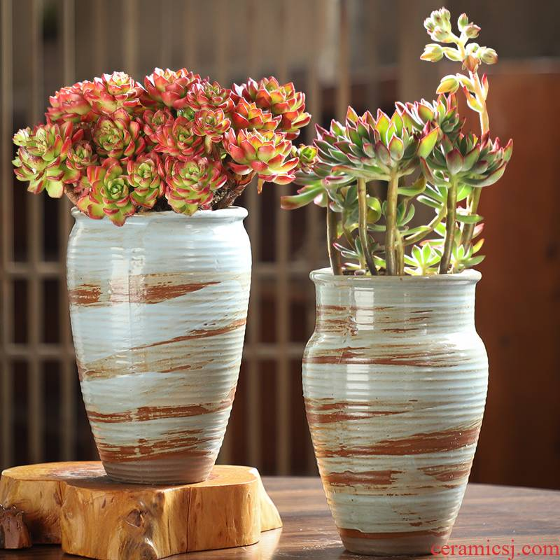 Large size coarse pottery old running the breathable creative POTS move flowerpot ceramic flower pot meat meat plant special offer a clearance, fleshy