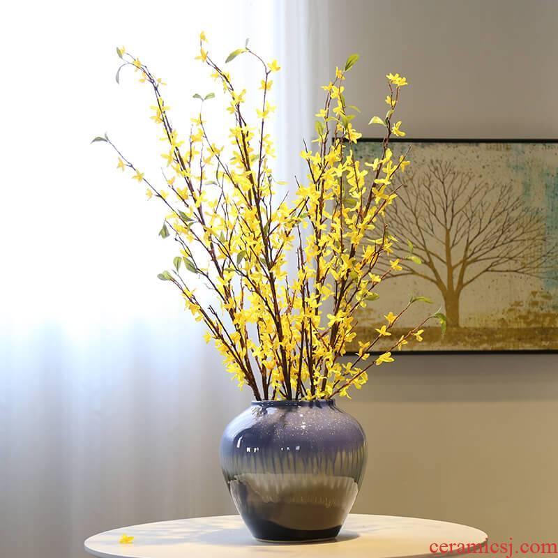 The New Chinese vase jingdezhen mesa sitting room porch desktop simulation flower flower adornment flowers, ceramic furnishing articles