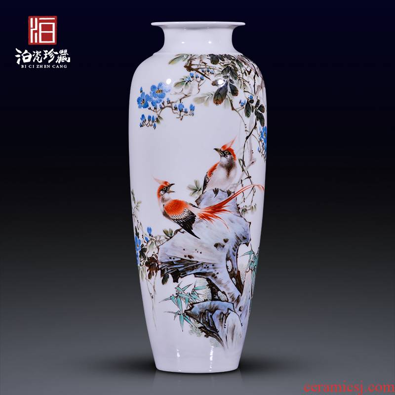 Jingdezhen ceramic painting birds and flowers in the vase furnishing articles of new Chinese style office sitting room porch decoration craft gift