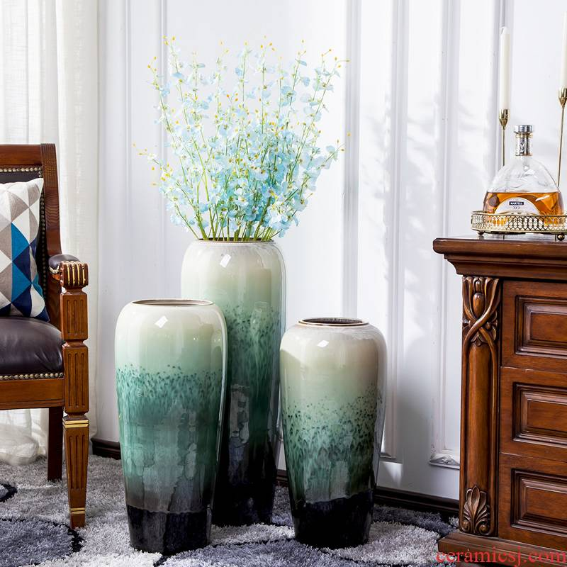 Jingdezhen big vase dried flowers flower arrangement sitting room decorate floor furnishing articles European - style originality large hydroponic flower decoration