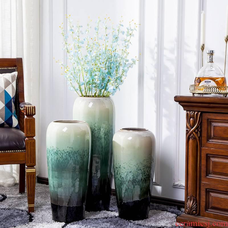Jingdezhen big vase dried flowers flower arrangement sitting room decorate floor furnishing articles European - style originality large hydroponic flower decoration