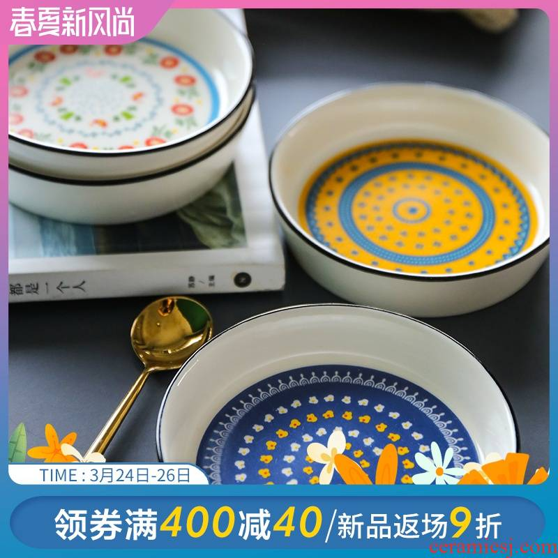 Selley national wind ceramic sauce dish dish dish seasoning disc dip in soy sauce vinegar dish sweet snack plate ipads plate