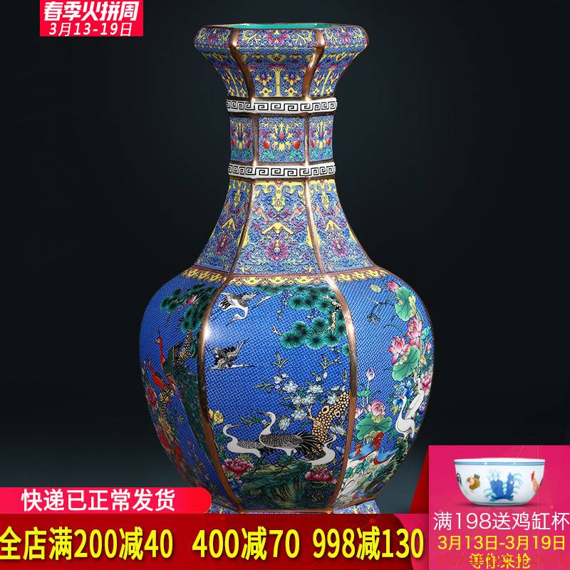 Jingdezhen ceramics imitation qianlong fuels the vase flower arrangement sitting room of Chinese style restoring ancient ways is household adornment handicraft furnishing articles