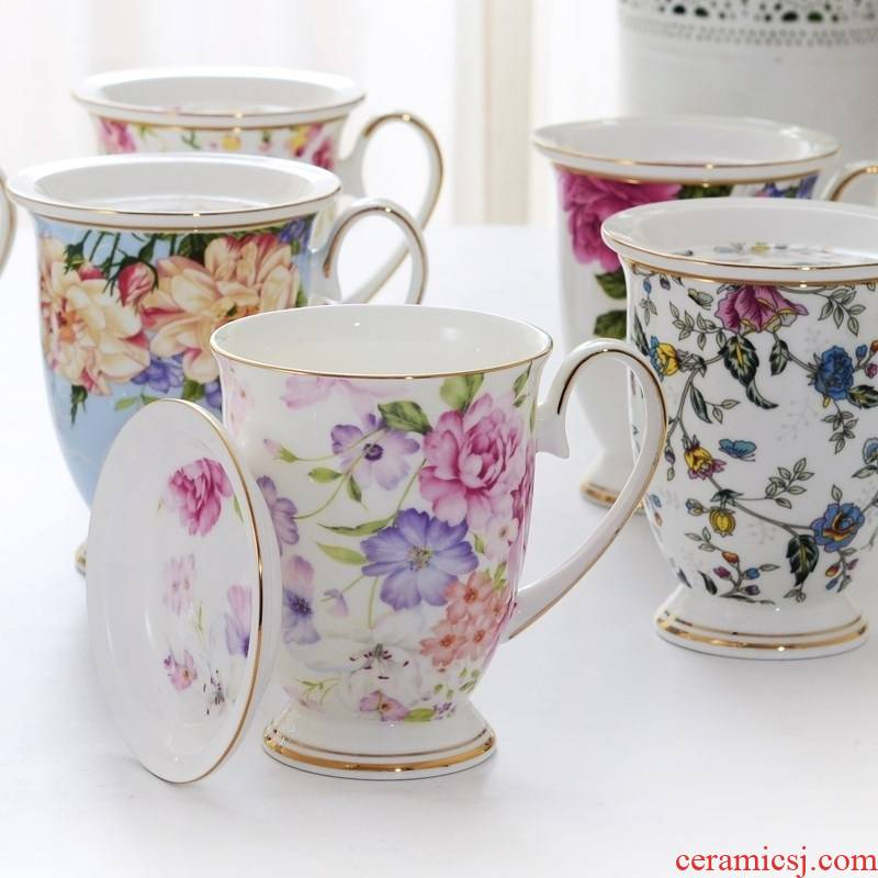 European tangshan ipads porcelain coffee cup creative ceramic keller cup cup milk cup floral cup