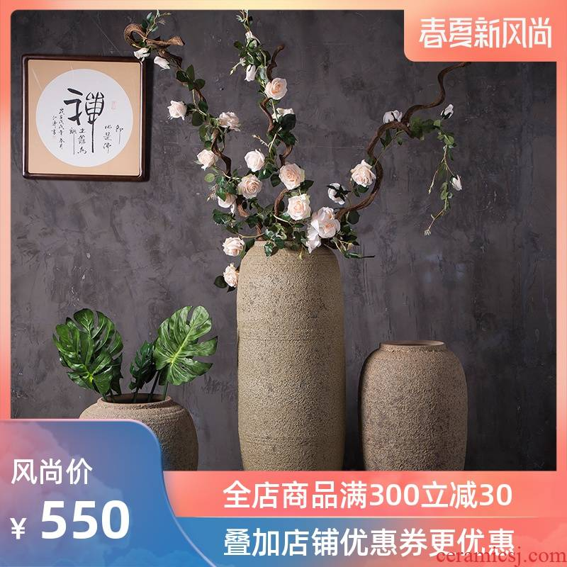 Coarse pottery vases, pottery decoration to the hotel club villa landscape restoring ancient ways the ground flower implement ceramic flower furnishing articles