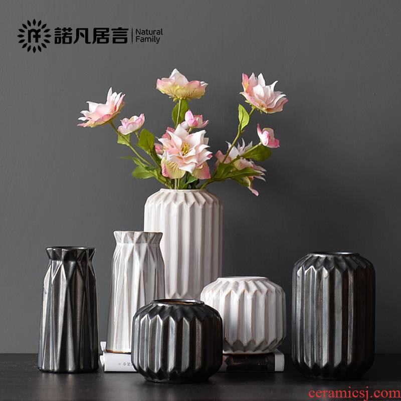 Mesa vases, ceramic home furnishing articles home sitting room flower arranging dried flower flower implement combination of I and contracted vertical stripes suit