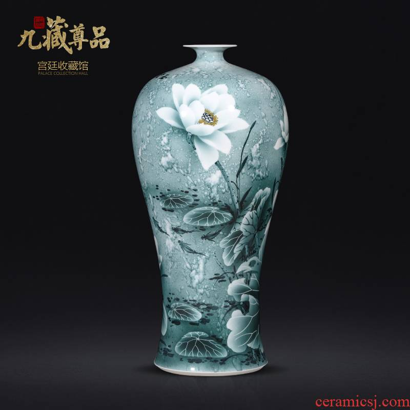 Jingdezhen chinaware lotus hand - made splash ink mei bottles of Chinese style living room TV ark, flower arranging porch is decorated furnishing articles