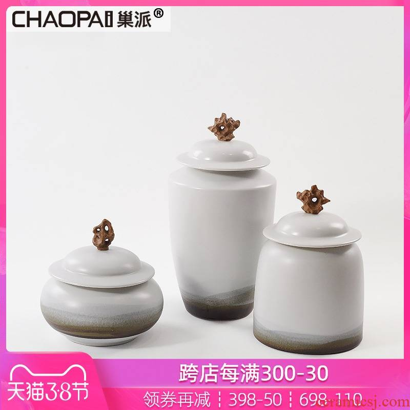New Chinese style is contracted plain coloured pottery and porcelain of the storage tank is placed between example floor office bookcase soft decoration