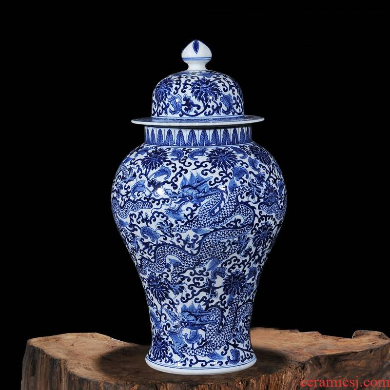 Qianlong style antique hand - made porcelain of jingdezhen ceramics wulong general pot vase household decorative furnishing articles study