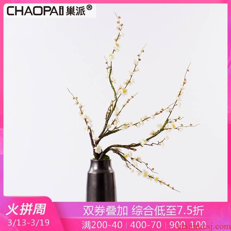 New Chinese style simulation wintersweet flower miniascape of TV ark place indoor ceramic pot sitting room adornment tea table decoration