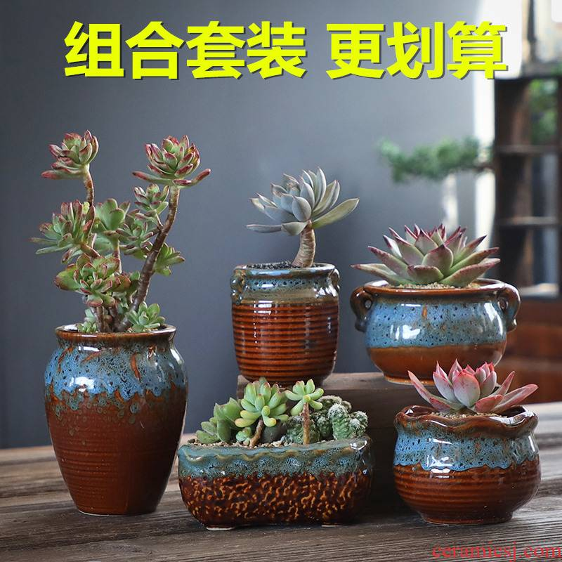 Old running the coarse pottery flowerpot ceramic creative move meat meat the plants breathe freely large fleshy restoring ancient ways is a flower pot special offer a clearance