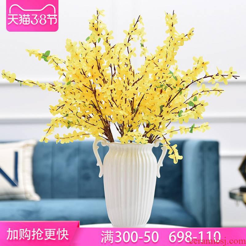 Modern light key-2 luxury ears ceramic vase household porch TV cabinet sitting room, dining - room soft outfit flower decoration