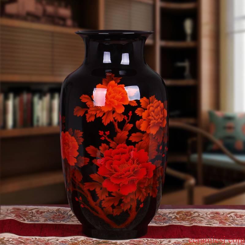 Jingdezhen ceramics large black crystal glaze blooming flowers floor vase decoration sitting room adornment is placed