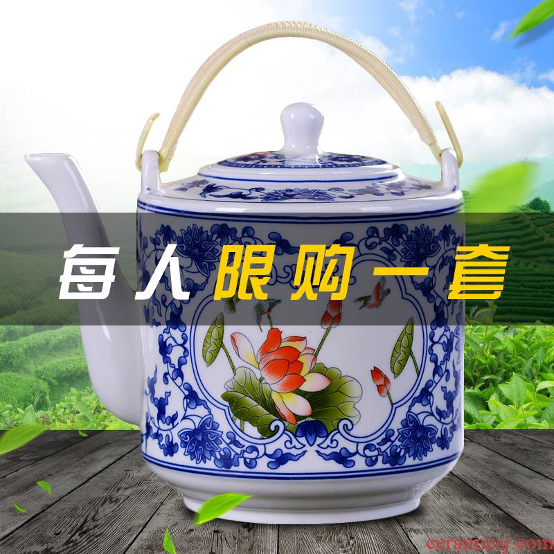 Jingdezhen ceramic bottle home cool kettle large capacity of hold to high temperature hot water filtration of blue and white porcelain teapot