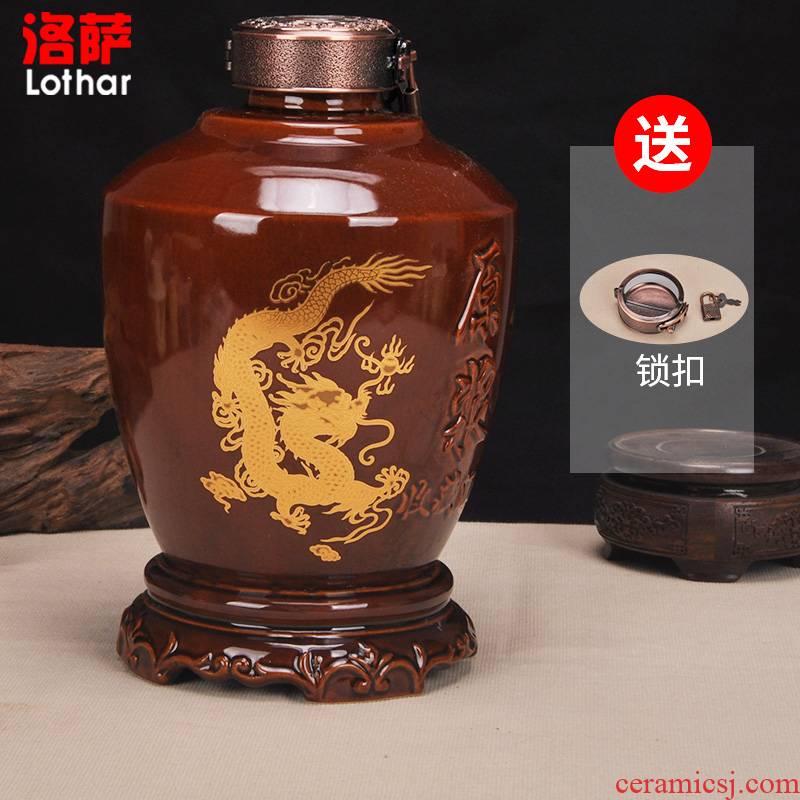 Jingdezhen ceramic bottle 1 catty 2 jins of 3 kg pot in extremely good fortune 5 jins of 10 jins jars liquor bottle wine in it