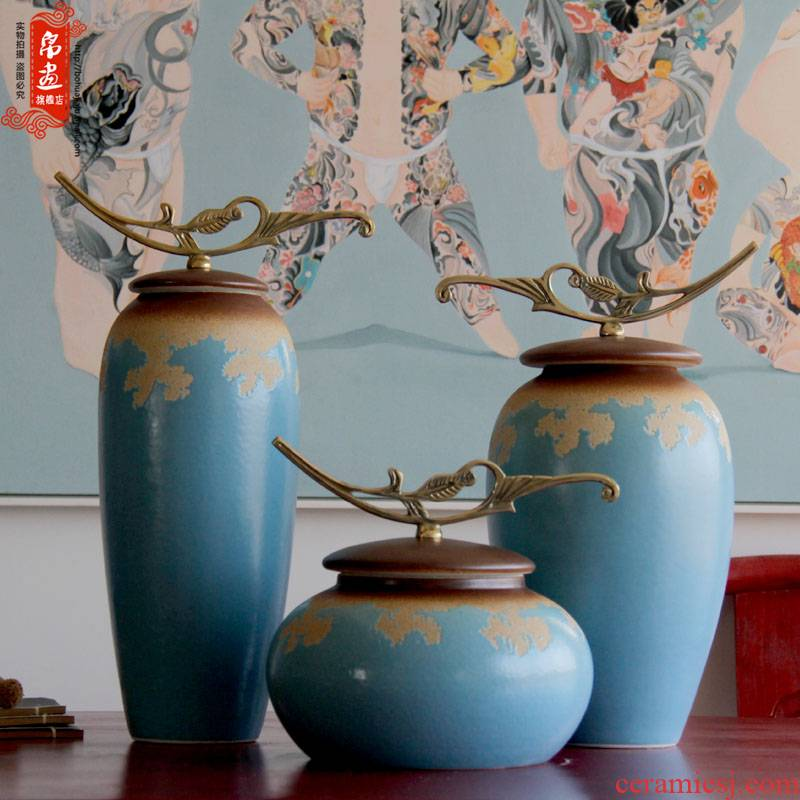 Jingdezhen ceramic vase furnishing articles sitting room creative up flower arranging desktop metal parts with cover can receive