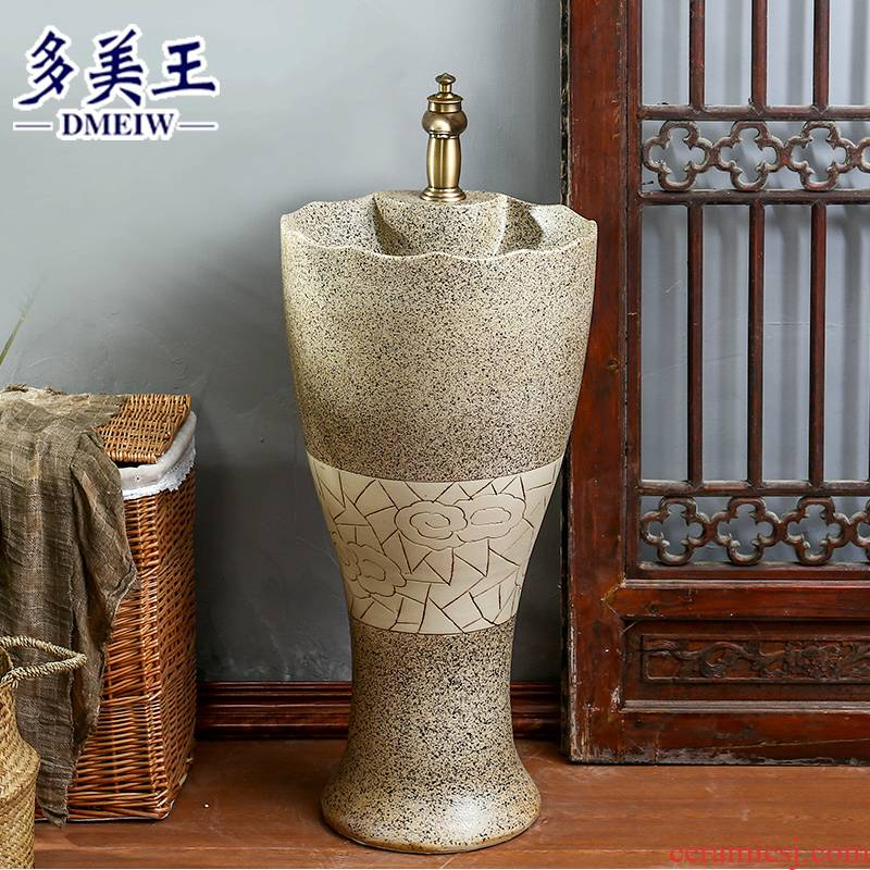 Chinese style restoring ancient ways ceramic basin of pillar type lavatory basin is suing garden art column column vertical to the sink