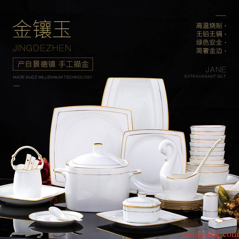 Jingdezhen tableware suit household European square dishes ceramic creative up phnom penh dish combination of pure key-2 luxury