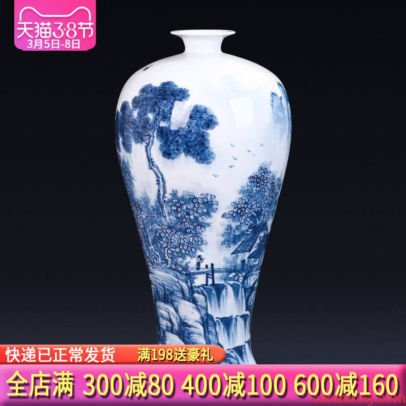 Jingdezhen ceramics hand - made of blue and white porcelain vases, flower arrangement of new Chinese style household act the role ofing is tasted furnishing articles gift sitting room