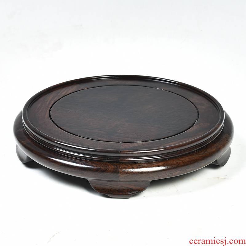 Ebony woodcarvings, circular base solid wood Buddha feng shui furnishing articles base wooden vase, the teapot tea base