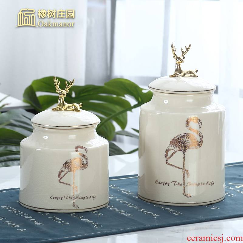 Nordic light much creative ceramic tank storage tank furnishing articles with cover seal pot tea pot deer head receive decoration