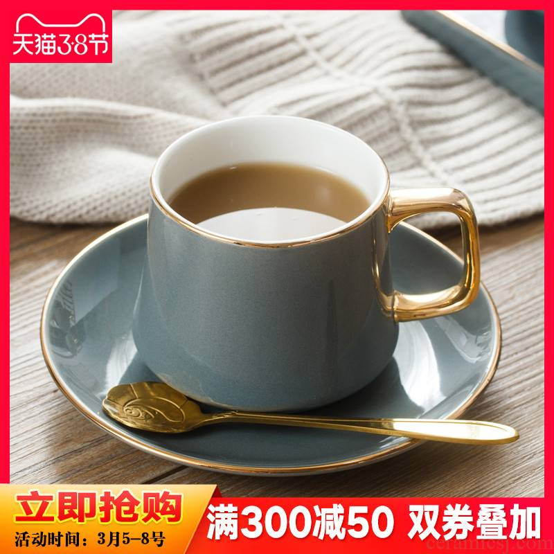 Light much coffee cups and saucers suit small European - style key-2 luxury household ceramic paint mark cup with disc ladle English afternoon tea