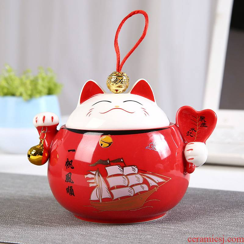Ceramic plutus cat small place rich creative caddy fixings home decoration storage tank sitting room office gift