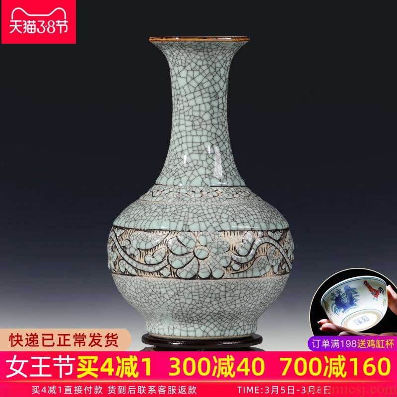 Porcelain of jingdezhen ceramics vase hand - carved restoring ancient ways do old son design classical sitting room adornment is placed