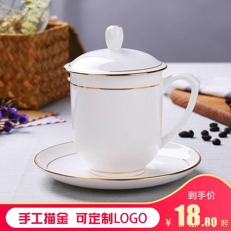 Jingdezhen ceramic cups with cover office cup hand - made ipads China tea cup of household water cup custom in the meeting room