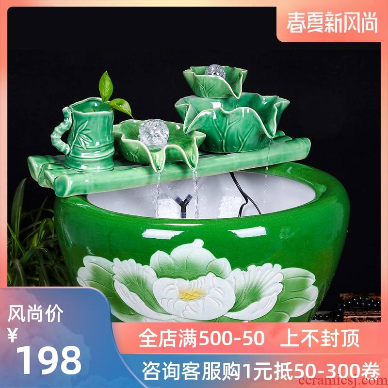 Jingdezhen ceramic household fish small sitting room aquarium water fountain creative household adornment water tank