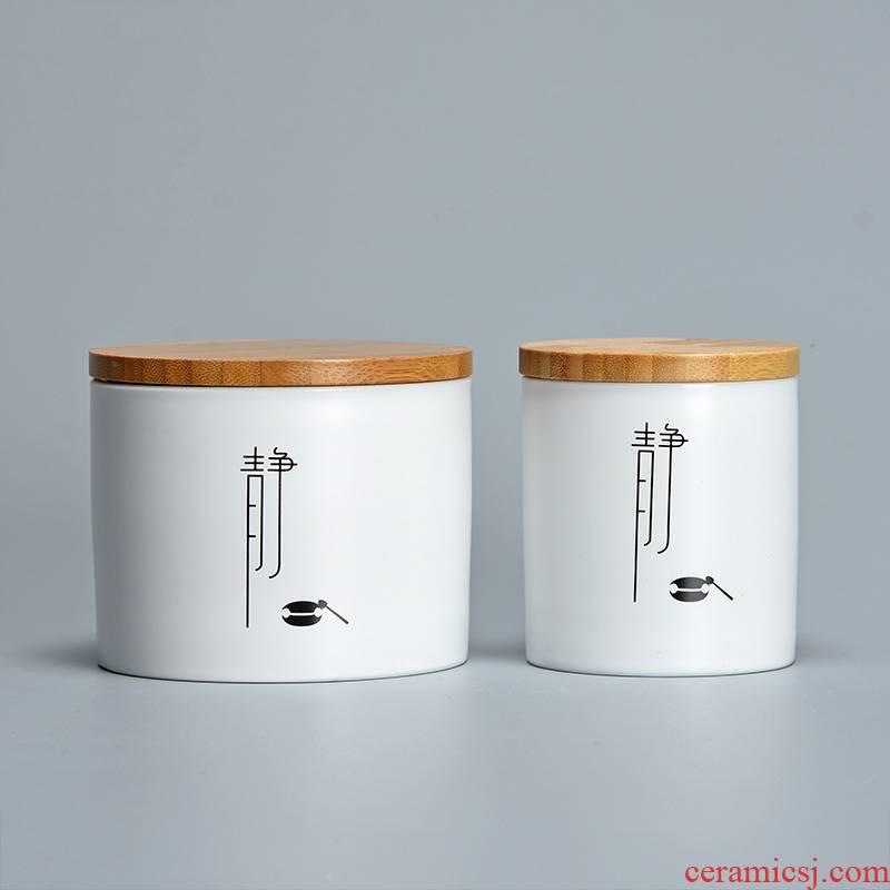 Jun ware bamboo cover fat white zen tea pot ceramic seal household storage tanks puer tea POTS small tea warehouse