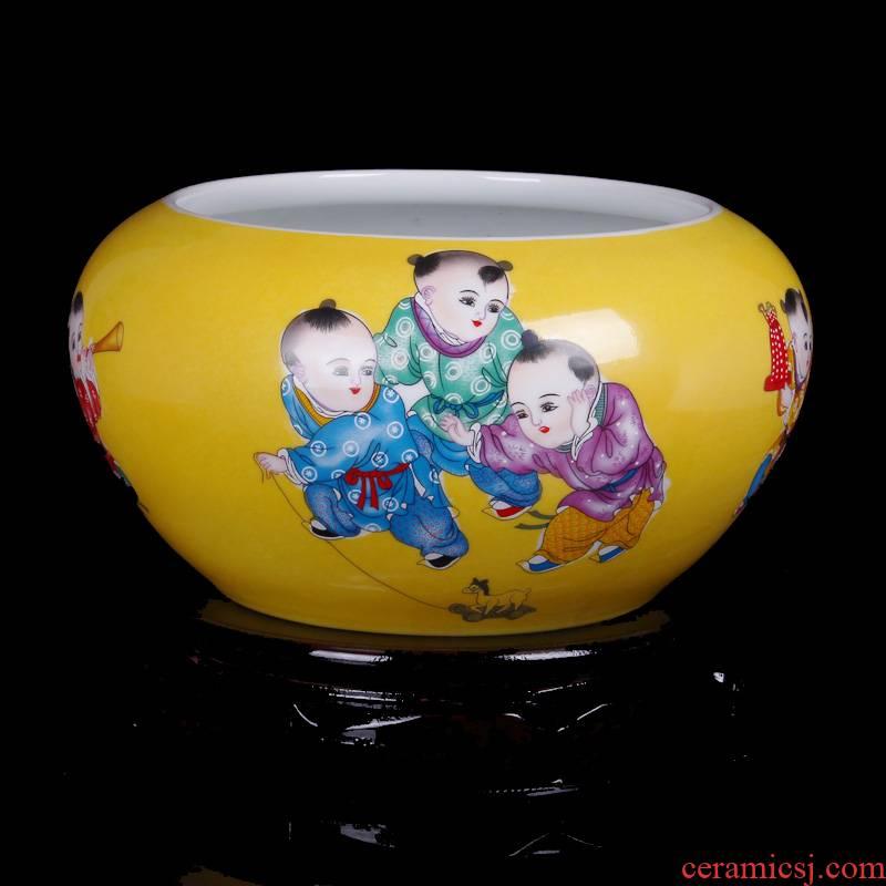 Jingdezhen ceramics yellow glaze the lad goldfish turtle cylinder shallow modern home sitting room handicraft furnishing articles