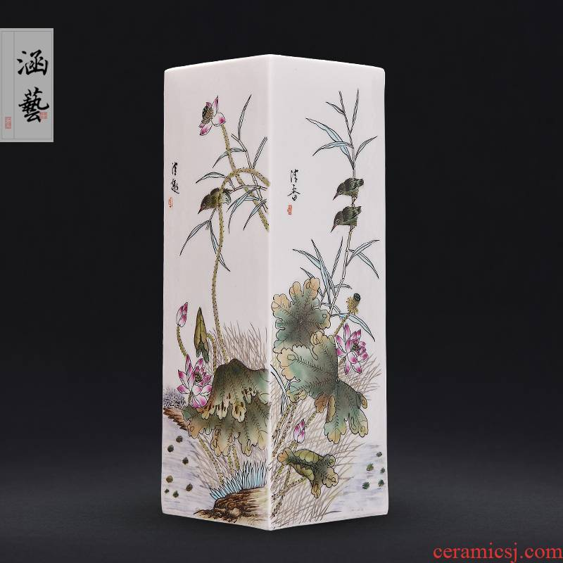 Jingdezhen ceramics hand - made pastel pure fun scent vase sitting room place flower arrangement of new Chinese style decoration
