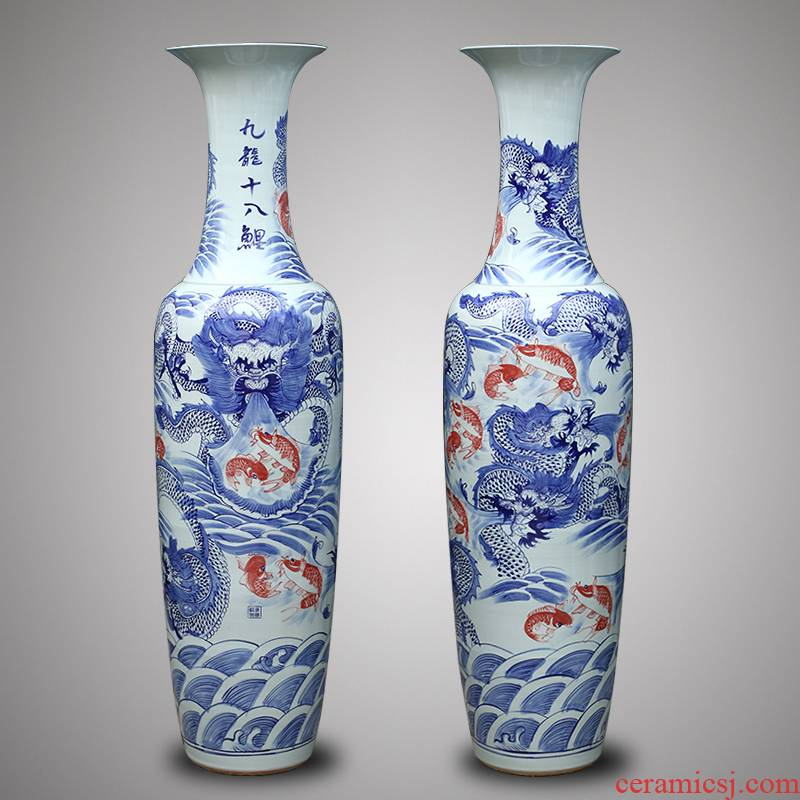 Jingdezhen ceramics 1 meter 8 dragon vase of large villa hotel lobby hall feel opening gifts