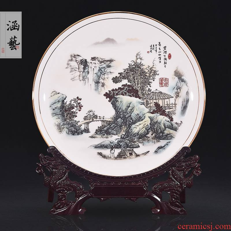 Jingdezhen porcelain pottery brigitte jian was born the tide decorate dish by dish hang dish of new Chinese style living room porch handicraft furnishing articles