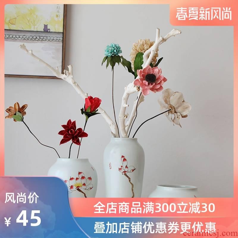 Modern new Chinese style three - piece furnishing articles of jingdezhen ceramics, vases, flower arrangement, zen home sitting room adornment