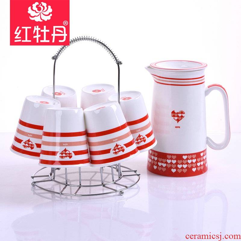 Tangshan red peony ipads porcelain cup cold water with a water large capacity kettle household creative couples wedding gifts