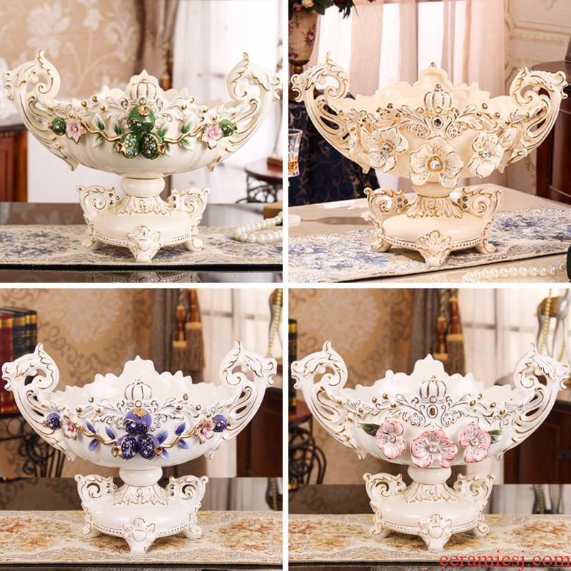 Ou compote home sitting room light snack plate of large fruit tea table basin creative key-2 luxury furnishing articles ceramic fruit bowl