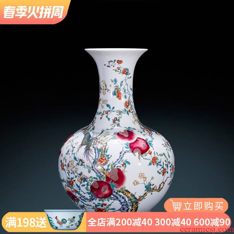 Jingdezhen ceramics antique imitation qianlong paint powder enamel vase sitting room adornment is placed large Chinese style decoration