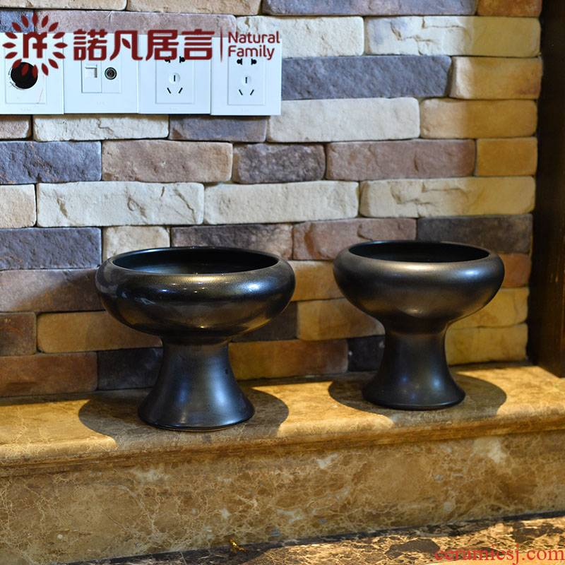 Black ceramic vase sword Japanese zen mountain small what liuhua road contracted creative living room hotel artistic flower arrangement