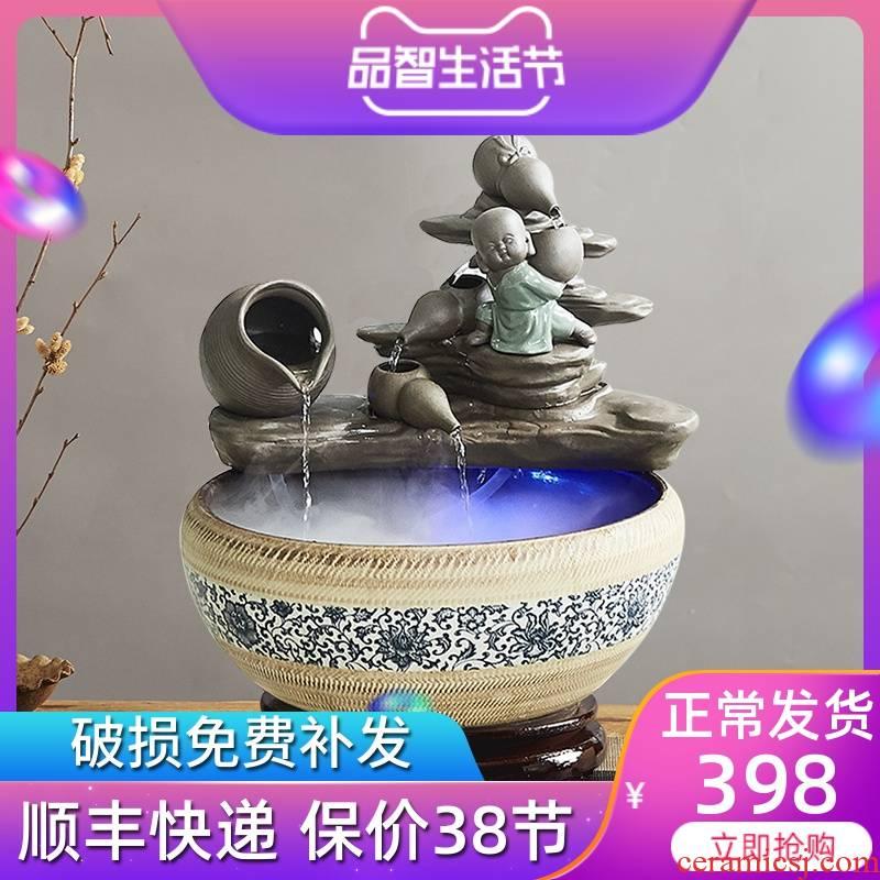 The Desktop ceramic water fountain furnishing articles atomization feng shui wheel tank zen sitting room indoor humidifier tank